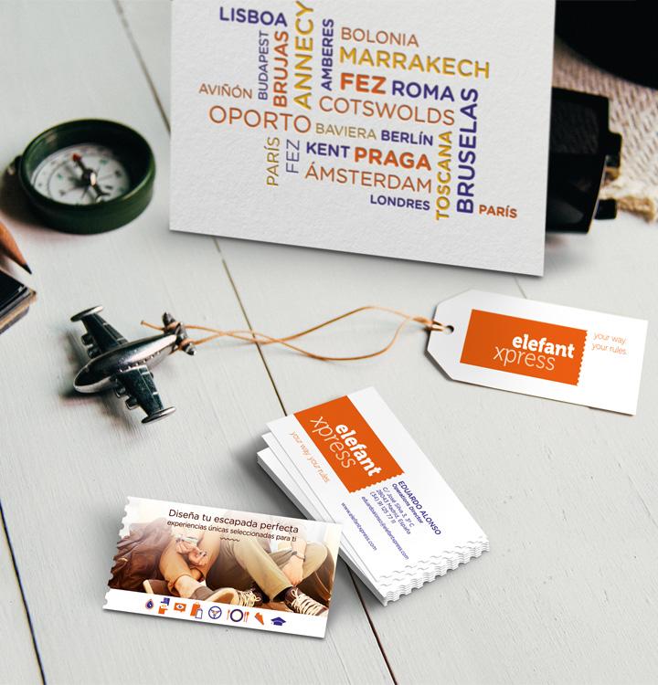 tarjetas visita elefant travel